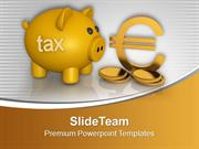 Piggy Bank With Dollar Coins Finance PowerPoint Templates PPT Backgrou