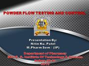 powder flow testing and control