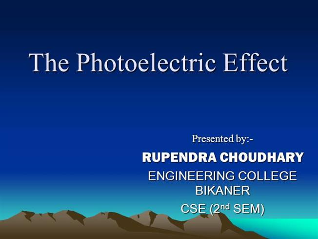 Photoelectric effect. Ppt video online download.