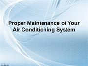 Proper Maintenance of Your Air Conditioning System