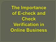 The Importance of E-check and Check Verification in Online Business