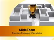 Trophy In Labyrinth Competition PowerPoint Templates PPT Backgrounds F