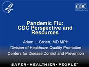 Pandemic Flu CDC Perspective-Resources