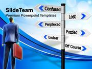 business powerpoint examples confused signpost metaphor ppt background