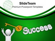 Man With Golden Key Success Future PowerPoint Templates PPT Themes And