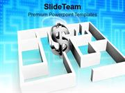 Metallic Dollar Stucked In Labyrinth PowerPoint Templates PPT Themes A