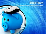 Metallic Piggy Bank With Computer Mouse PowerPoint Templates PPT Theme