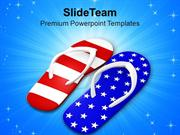 Pair Of Red White And Blue Footwears PowerPoint Templates PPT Themes A