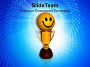 Smiley Face On Golden Trophy Winner PowerPoint Templates PPT Themes An