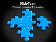 Blue Puzzles Making Solution Teamwork PowerPoint Templates PPT Themes
