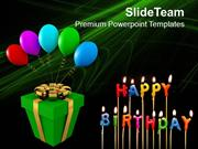 Gift And Balloons Happy Birthday Celebration PowerPoint Templates PPT