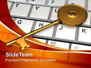 Golden Key On Keyboard Security PowerPoint Templates PPT Themes And Gr