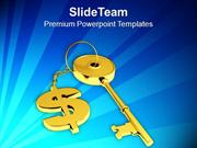 Golden Key With Dollar Sign Future PowerPoint Templates PPT Themes And
