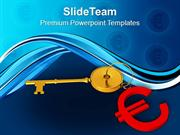 Golden Key With Euro Symbol Background PowerPoint Templates PPT Themes