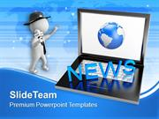 Laptop With News Journalist Globe PowerPoint Templates PPT Themes And