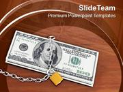 Locked Money On Wooden Table Cash PowerPoint Templates PPT Themes And