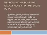 Tips for backup samsung galaxy note ii text messages to pc