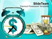 Alarm Clock With Dollar Bills Time And Money PowerPoint Templates PPT