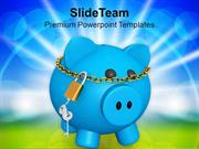 Blue Piggy Bank Investment Security Lock PowerPoint Templates PPT Them