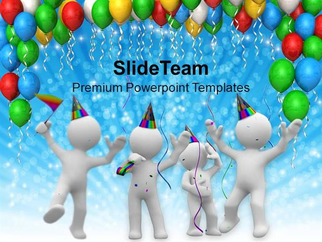 colorful birthday party baloons design family time powerpoint temp, Powerpoint templates