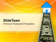 Dollar Bill Path To Home Real Estate Financial Profit PowerPoint Templ
