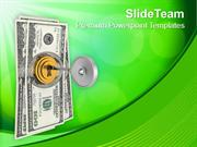 Dollar Bills With Security Key Locking PowerPoint Templates PPT Themes