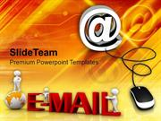 Email Symbol With Computer Mouse Internet PowerPoint Templates PPT The
