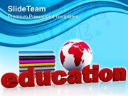 Globe With Books Education Knowledge PowerPoint Templates PPT Themes A
