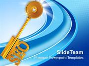 Golden Key With Word Seo Shapes PowerPoint Templates PPT Themes And Gr