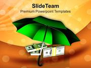Green Umbrella With Dollar Bills Business PowerPoint Templates PPT The