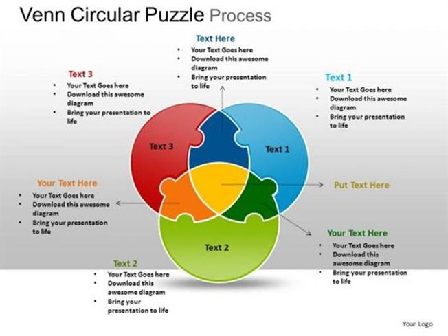 venn diagrams   powerpoint diagrams on authorstreambackgrounds circular  stages venn diagram puzzle process diagram template