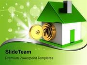 House Locked With Golden Key Security PowerPoint Templates PPT Themes