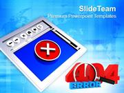 Internet Browser With 404 Error Symbol PowerPoint Templates PPT Themes