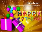 Opened Gift Box With Balloons Birthday PowerPoint Templates PPT Themes