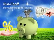 Piggy Bank With Percentage Money Box Investment PowerPoint Templates P