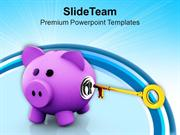 Pink Piggy Bank With Key Hole And Key PowerPoint Templates PPT Themes