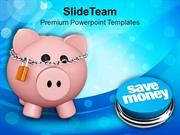 Pink Piggy Bank With Lock Save Money PowerPoint Templates PPT Themes A