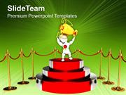 Podium For Winner With Red Carpet Trophy PowerPoint Templates PPT Them
