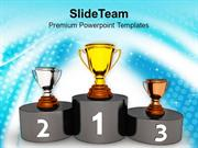 Podium With Golden Silver Trophy Reward PowerPoint Templates PPT Theme