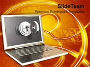 Silver Laptop With Lock Key Security PowerPoint Templates PPT Themes A