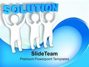 Three Men Join Forces To Lift The Words Solution PowerPoint Templates