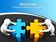 3d Man Pushing Puzzles Joining Team Effort PowerPoint Templates PPT Th