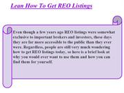 Lean How To Get REO Listings
