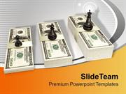 Chess Figures King Queen On Us Dollar Growth PowerPoint Templates PPT