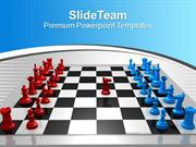 Chess Players Red Blue Challenge Leadership PowerPoint Templates PPT T