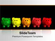 5 Colorful Piggy Bank Saving PowerPoint Templates PPT Themes And Graph