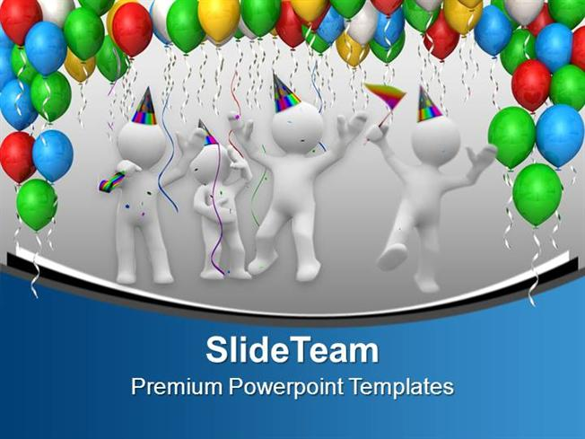 colorful birthday party balloons celebration powerpoint templates