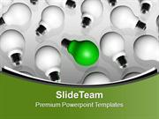 Green Bulb Between All White Bulbs PowerPoint Templates PPT Themes And