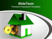 Green House With Golden Key Locked PowerPoint Templates PPT Themes And