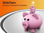 Pink Piggy Bank With Puzzle Pieces PowerPoint Templates PPT Themes And